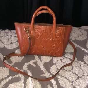 Patricia Nash Miliana brown leather crossbody tote
